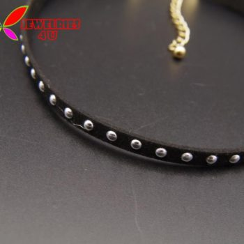 Women's Black Leather Choker Necklace With Silver Studs