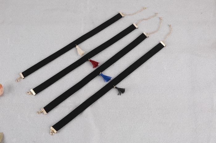 4997-004fbdea5edd3551bf5916e3456fa078 South Korea Black Velvet Choker Necklace With Tassel Pendant