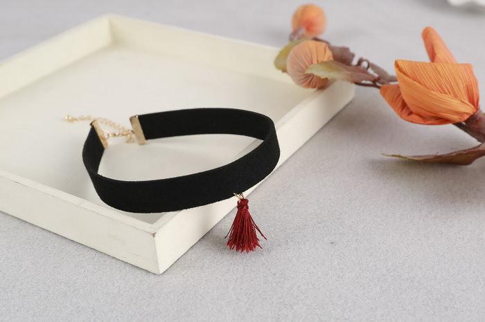 4997-0bc35d5ed60d9435ff3cfc78339154c0 South Korea Black Velvet Choker Necklace With Tassel Pendant