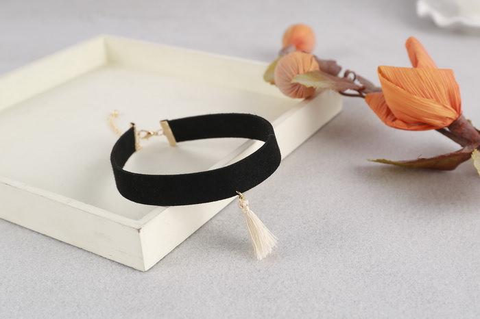 4997-17ee0eedfe7e42d672bd2b92261f9679 South Korea Black Velvet Choker Necklace With Tassel Pendant
