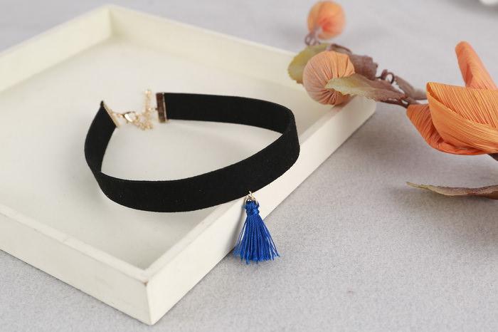 4997-b64856432fe280c7460e86f563f98e43 South Korea Black Velvet Choker Necklace With Tassel Pendant