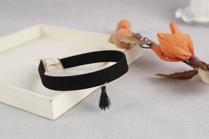 4997-d31e594e0908c90e226fab1eeeaae754 South Korea Black Velvet Choker Necklace With Tassel Pendant