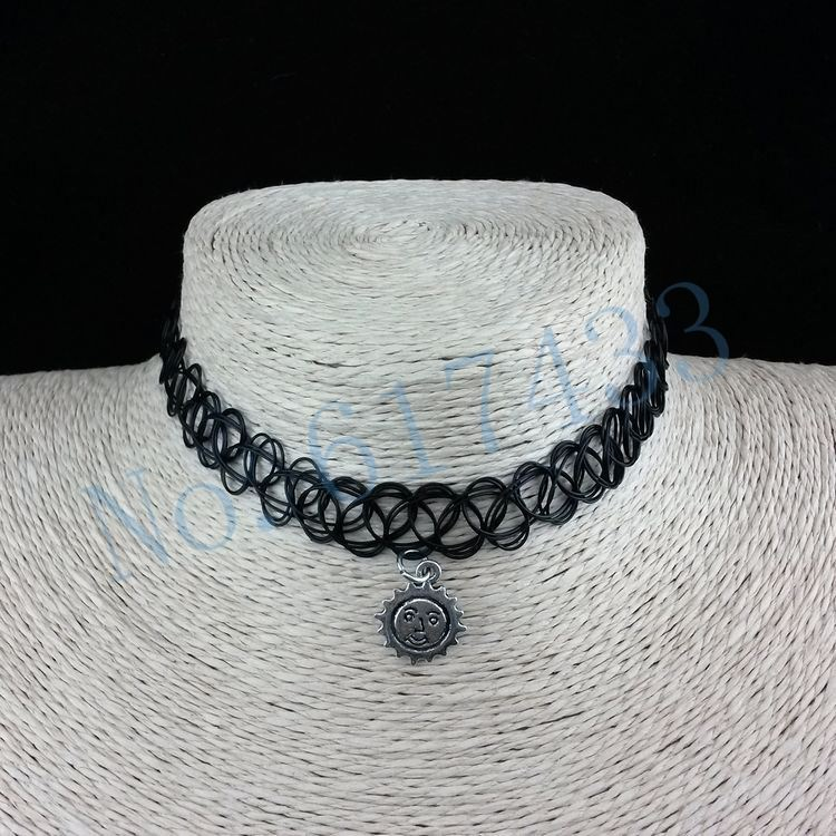 4998-0b1d9f74fdc57bea820b61d6ceaa0a78 3pcs Hot Selling Stretch Tattoo Choker Necklace With Pendant
