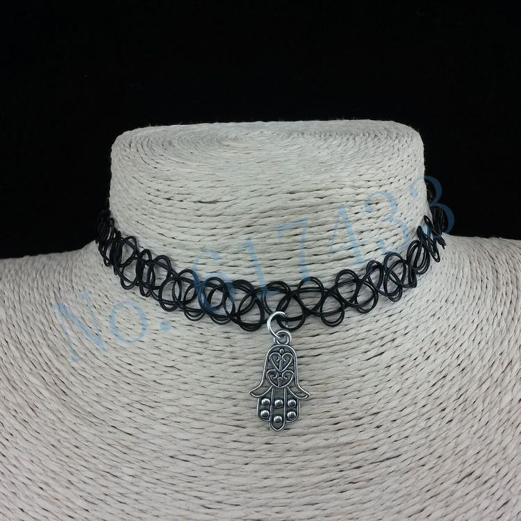4998-1358b1a16d43d7491d4775247c504a87 3pcs Hot Selling Stretch Tattoo Choker Necklace With Pendant