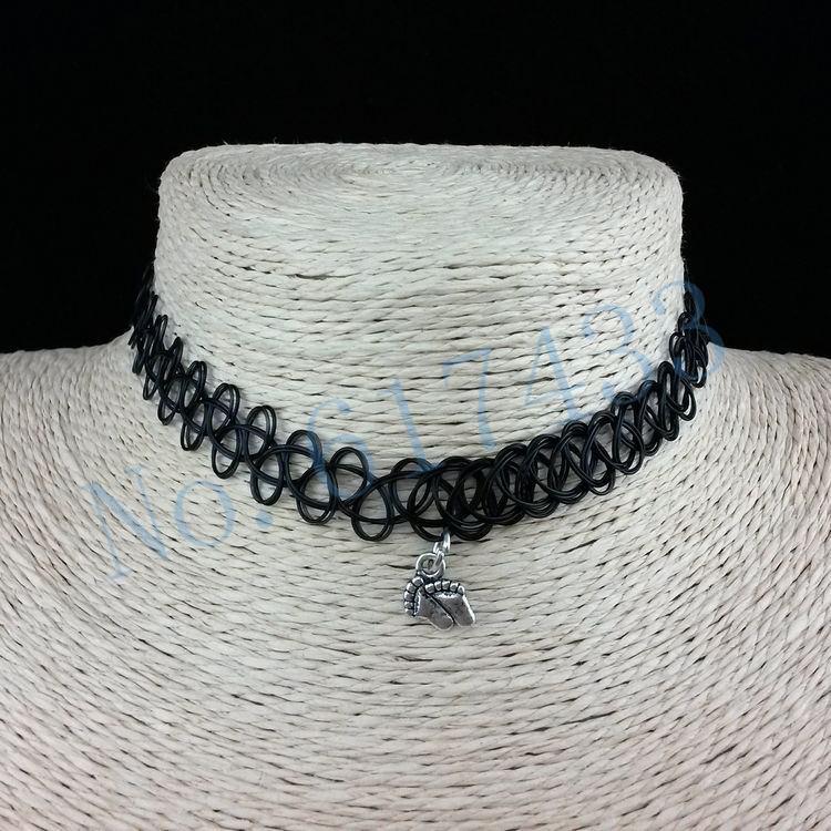 4998-266a4dbb9126b97f800e5caacfc47396 3pcs Hot Selling Stretch Tattoo Choker Necklace With Pendant