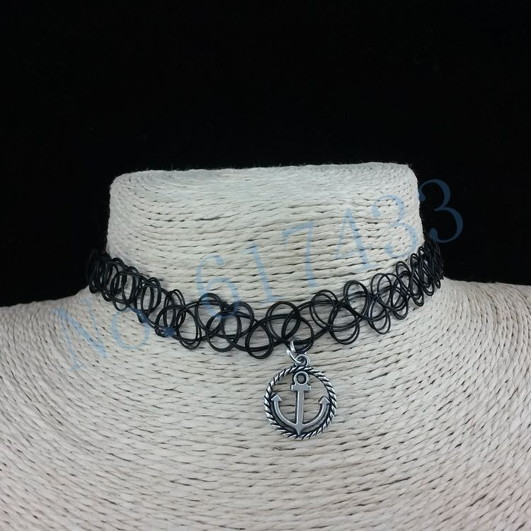 4998-3fd674a21570ee24a80a993186c54bef 3pcs Hot Selling Stretch Tattoo Choker Necklace With Pendant