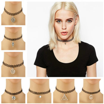 3pcs Hot Selling Stretch Tattoo Choker Necklace With Pendant