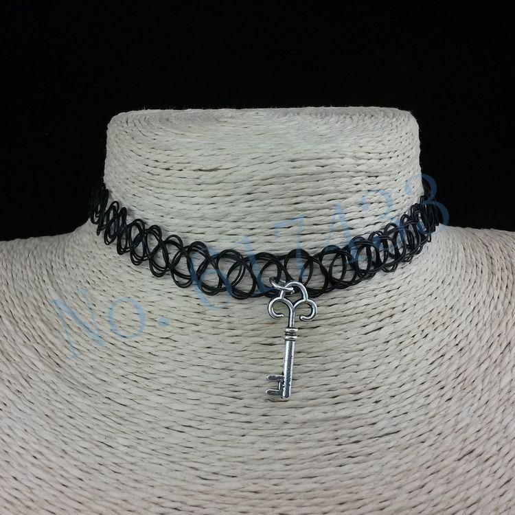 4998-598465a1f563e029ca22bb9d756e0392 3pcs Hot Selling Stretch Tattoo Choker Necklace With Pendant