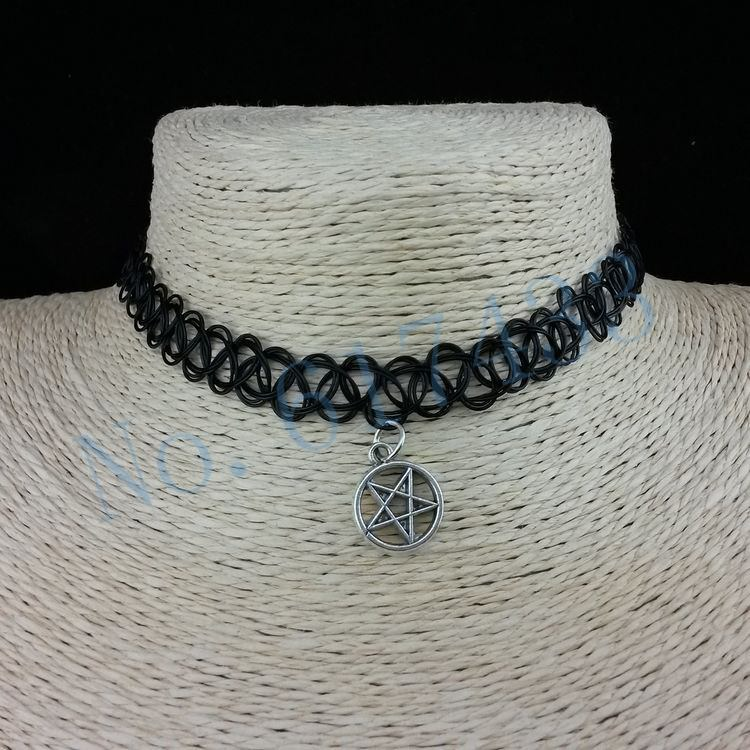 4998-d06353ffd8d77a9ff496fae873c0cdde 3pcs Hot Selling Stretch Tattoo Choker Necklace With Pendant