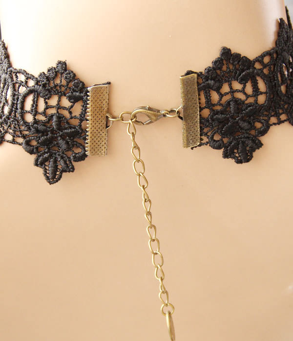4999-db329d8857c5c938f20a2a985bb47536 Vintage Lace Vampire Choker Necklace With Purple Rose And Spikes