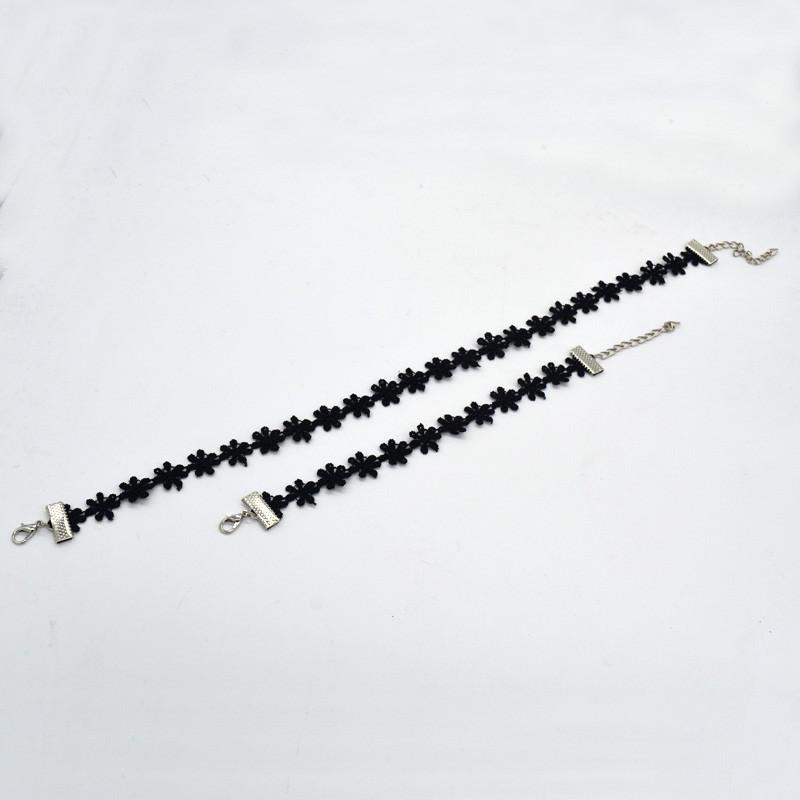 5000-f99643f85fdc3702d207f2d584574767 3pcs Vintage Black/White Daisy Flower Lace Choker Necklace