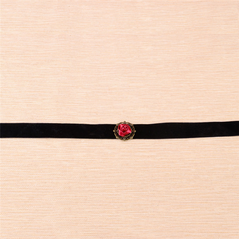 5001-73a40219ed37d3b4899b1f08b455bb15 Fashion Black Velvet Retro Gothic Collar Choker Necklace Red Rose Flower Charms Pendant For Women Jewelry Collier Femme Bijoux