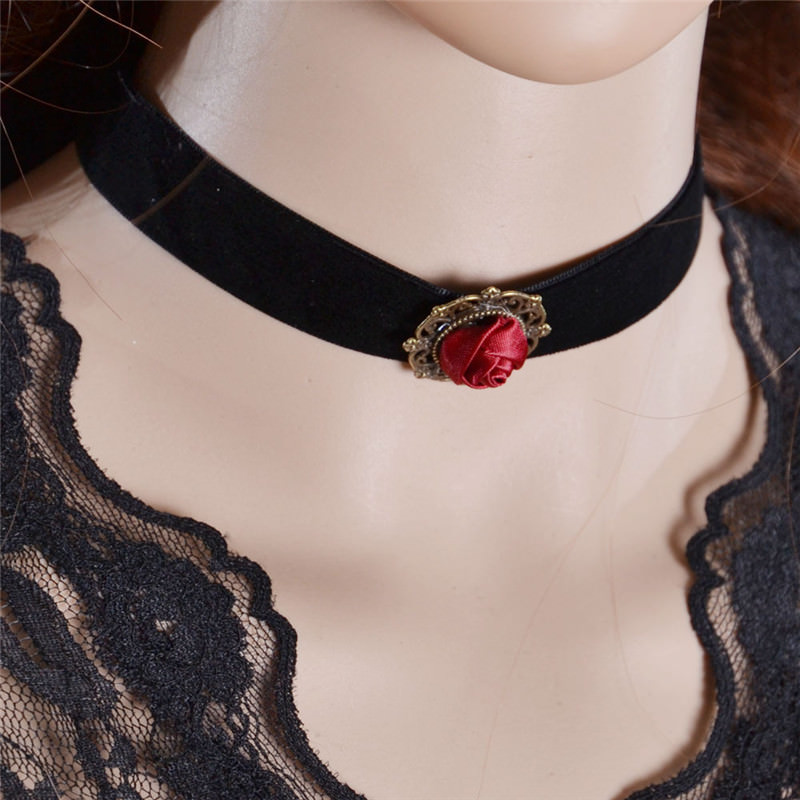 5001-90bc888d064e876183cb64a8dd7d9aac Fashion Black Velvet Retro Gothic Collar Choker Necklace Red Rose Flower Charms Pendant For Women Jewelry Collier Femme Bijoux