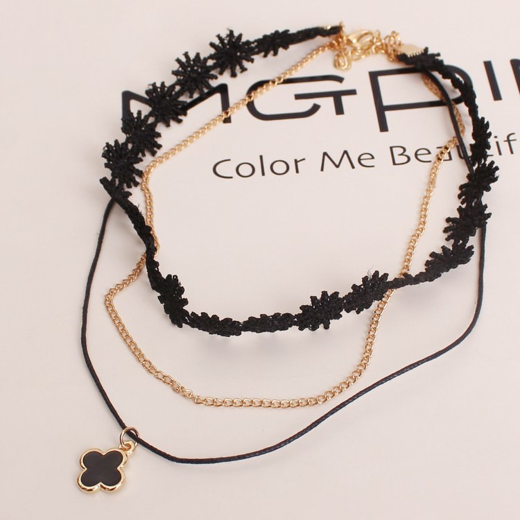 5002-3a44af6db3179848fcf5bd89a7c84b74 90's Inspired Multi-layer Black Choker Necklace With Pendant
