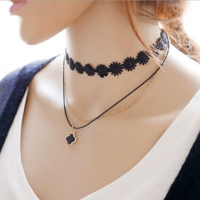 5002-45a24ed1d8f68b031dc0b901a6721dcd 90's Inspired Multi-layer Black Choker Necklace With Pendant
