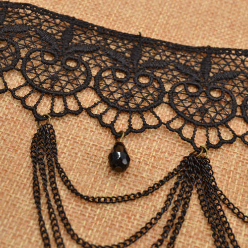 5003-55d4676e55461efc00c71866eaf279e2 Victorian Retro Black Lace Choker Necklace With Chain Tassels Or Drapes