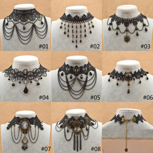 5003-7b4b24ea2ba3932806fd281c7a437ed8 Victorian Retro Black Lace Choker Necklace With Chain Tassels Or Drapes