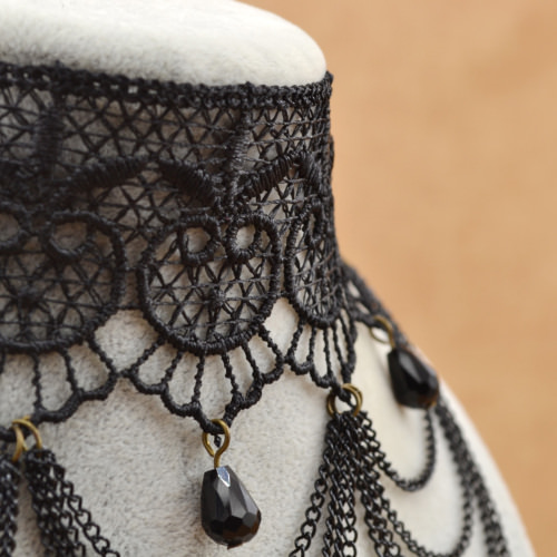 5003-c0ad74adfdc624c303ccdc358b910cdd Victorian Retro Black Lace Choker Necklace With Chain Tassels Or Drapes