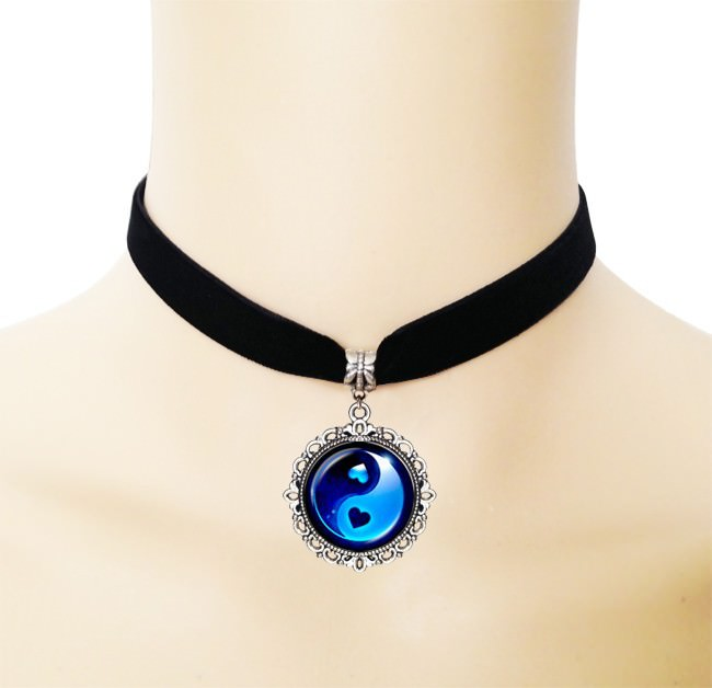 5005-5e6f7bf2fc5f34c261af0a2fa440c5d2 European Black Choker Necklace With Yin Yang Glass Art Picture Pendant