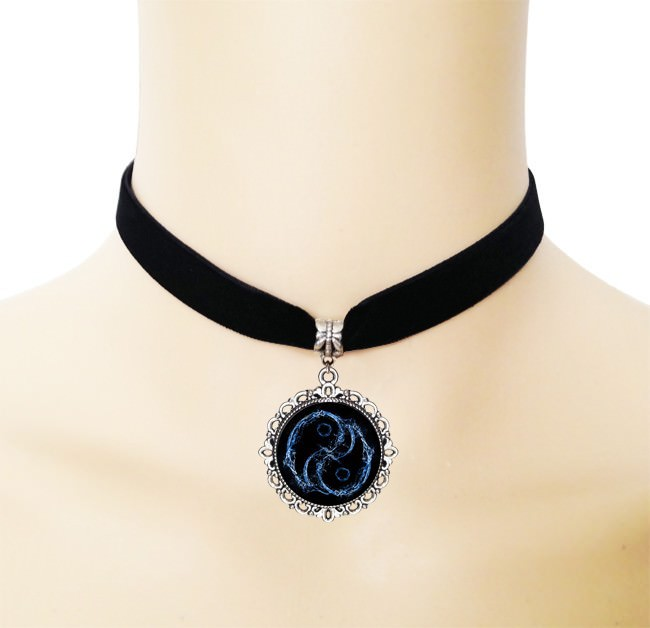5005-8716953ff3eea72a2fcd28144ba6317c European Black Choker Necklace With Yin Yang Glass Art Picture Pendant