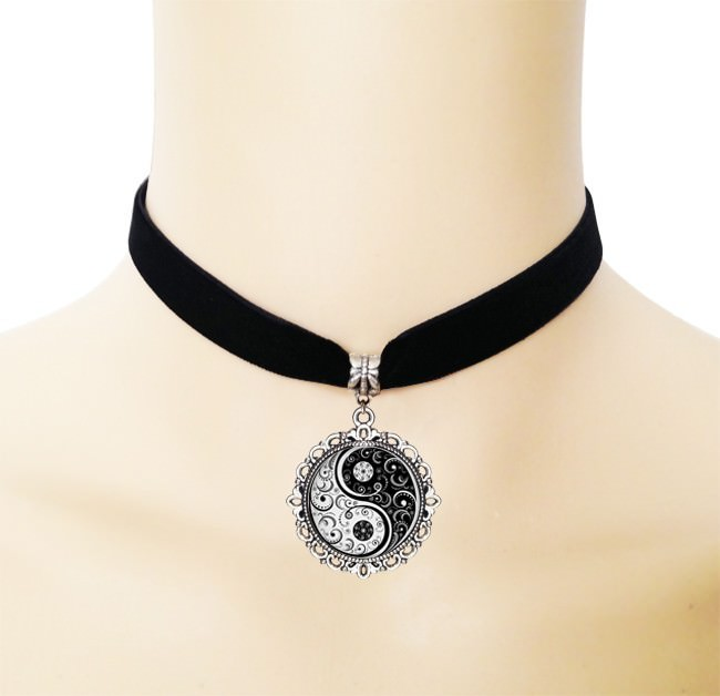 5005-ad76460a2982c00bea2b7f8e10983794 European Black Choker Necklace With Yin Yang Glass Art Picture Pendant