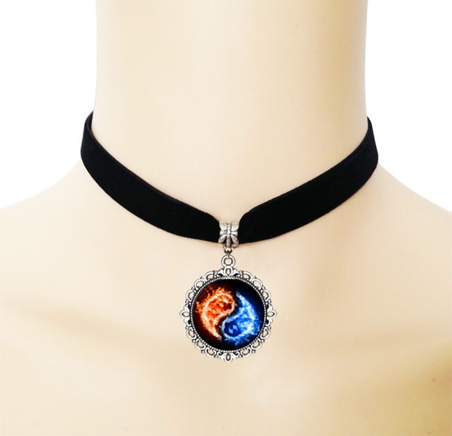 5005-aece441e76aa1324ca9573ffeb8de46e European Black Choker Necklace With Yin Yang Glass Art Picture Pendant