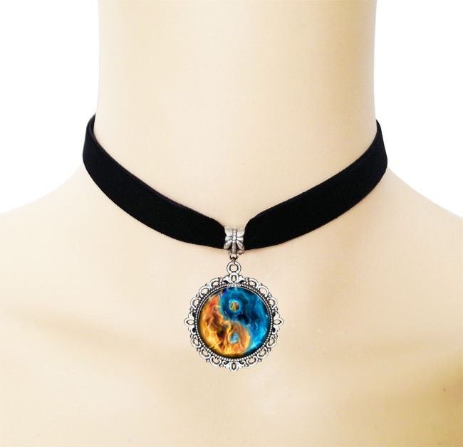 5005-c65d5d84c72ed3ddeb10b725750e3f57 European Black Choker Necklace With Yin Yang Glass Art Picture Pendant