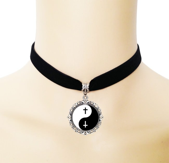 5005-ebf039462fe7f7aa08d3c93bc306b5dd European Black Choker Necklace With Yin Yang Glass Art Picture Pendant