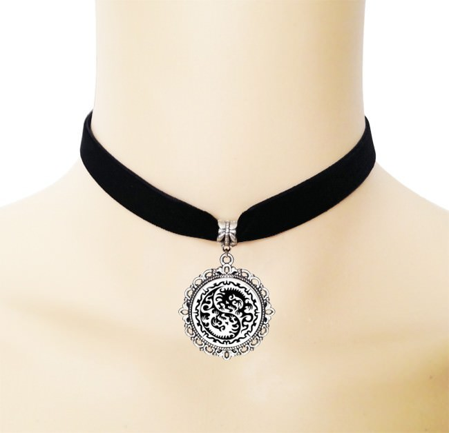 5005-f1edf9dcbeae810fe84acb33dac18857 European Black Choker Necklace With Yin Yang Glass Art Picture Pendant