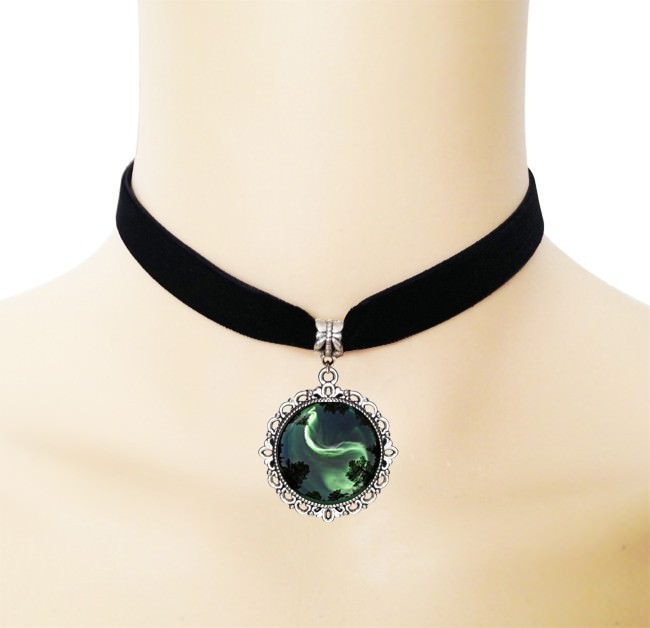 5005-f57ab1264caa0ab219d67e7f94cb0676 European Black Choker Necklace With Yin Yang Glass Art Picture Pendant