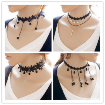 Vintage Lace Fringed Choker Necklace With Chains And Beads