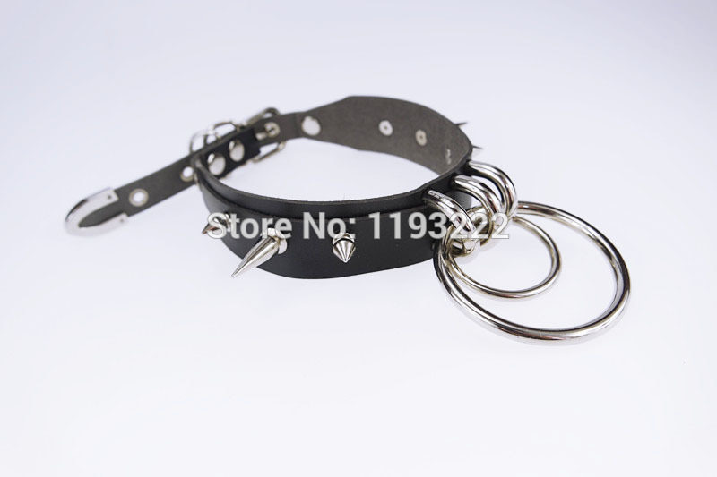 5011-43a37e1d7fcd6c621179c78bf90f2933 Punk Gothic Handcrafted Metal Double O Round Spiked Spikes Layered Leather Collar Choker Necklace