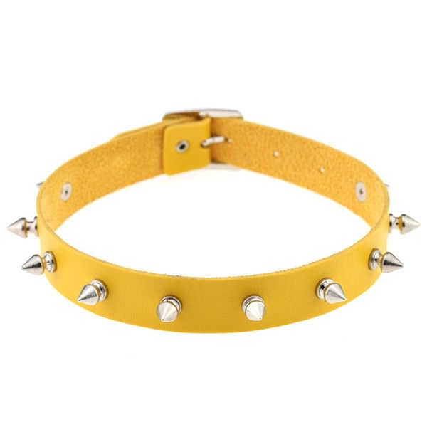 5012-062caf08abf317becb53b4718e730d6a Punk Style Spiked Leather Choker Necklace In Different Colors