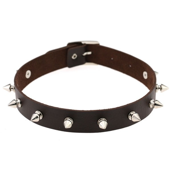 5012-46545a60e51ff9386ba928ce3020d01d Punk Style Spiked Leather Choker Necklace In Different Colors