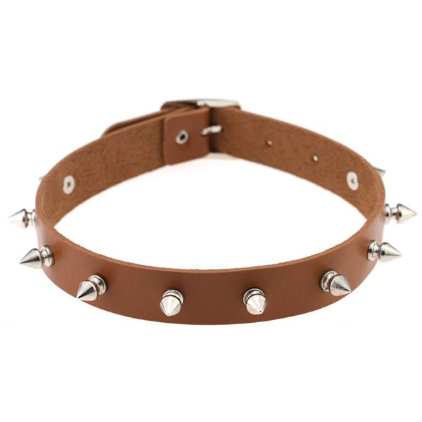 5012-67985455e5ddb6ed8c4fa9837e34af1e Punk Style Spiked Leather Choker Necklace In Different Colors