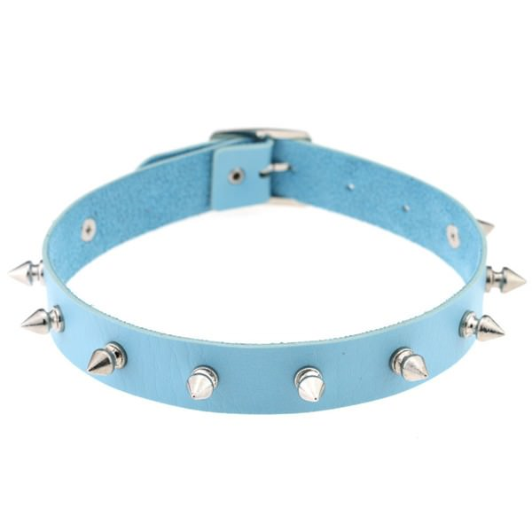 5012-6e3a5d6b101330fdc31a81ec55f59790 Punk Style Spiked Leather Choker Necklace In Different Colors