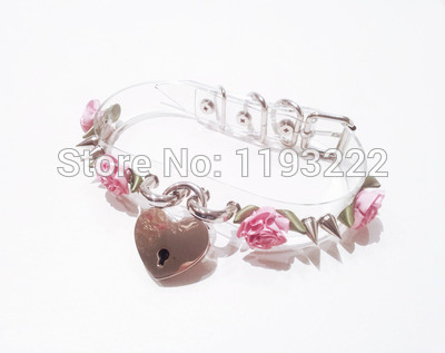 5013-117f98252932f6178ea655e8eb42f6f2 Lolita Punk Flower Studded And Spiked Clear Choker Necklace