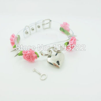Lolita Punk Flower Studded And Spiked Clear Choker Necklace