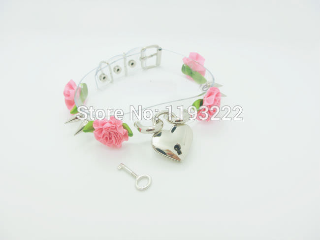 5013-18942f2bade3c0b6ce145b63a99ca54c Lolita Punk Flower Studded And Spiked Clear Choker Necklace