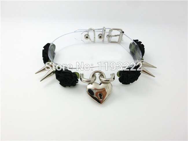 5013-645ad992d40368c64e541096691c5711 Lolita Punk Flower Studded And Spiked Clear Choker Necklace
