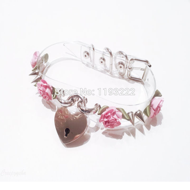 5013-66ceb240a088ee92c8b2f128606dc4ef Lolita Punk Flower Studded And Spiked Clear Choker Necklace