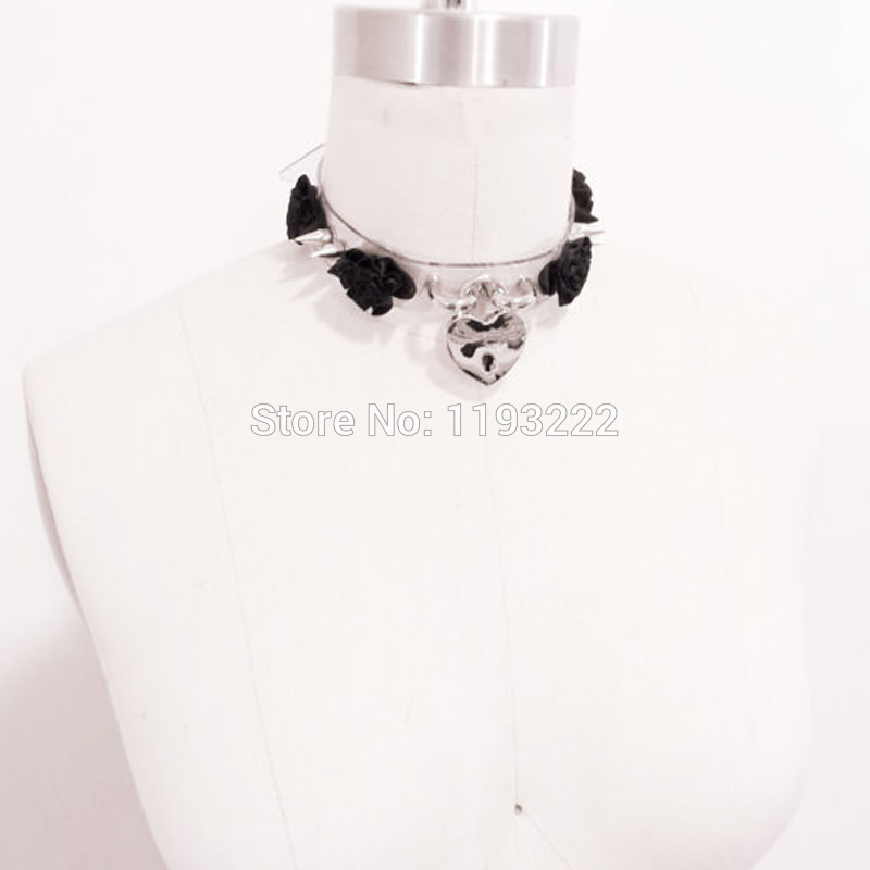 5013-f13a7359093938ec48bac6c9f18cdfb1 Lolita Punk Flower Studded And Spiked Clear Choker Necklace