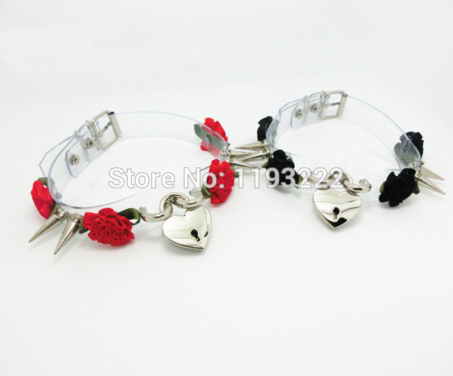 5013-f88354cf4780d23248a7716ab1bb4f7a Lolita Punk Flower Studded And Spiked Clear Choker Necklace
