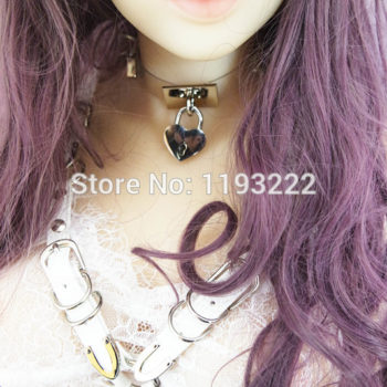 Cute Lolita Spiked Leather Choker Necklace With Lock And Key