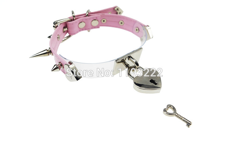 5014-3016b7306b3e89cc74dece7c68fe1e36 Cute Lolita Spiked Leather Choker Necklace With Lock And Key