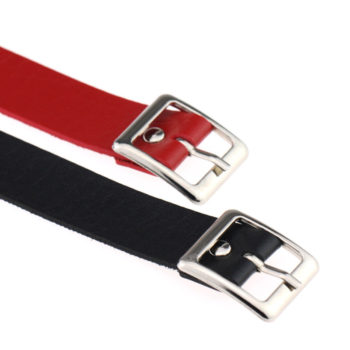 Classic Punk Leather Choker Necklace With Silver Accent