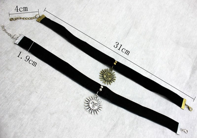 5017-099c083ddb0b5a82d2e30086b2f7b293 Gothic Leon Black Velvet Ribbon Choker Necklace With Sun Pendant