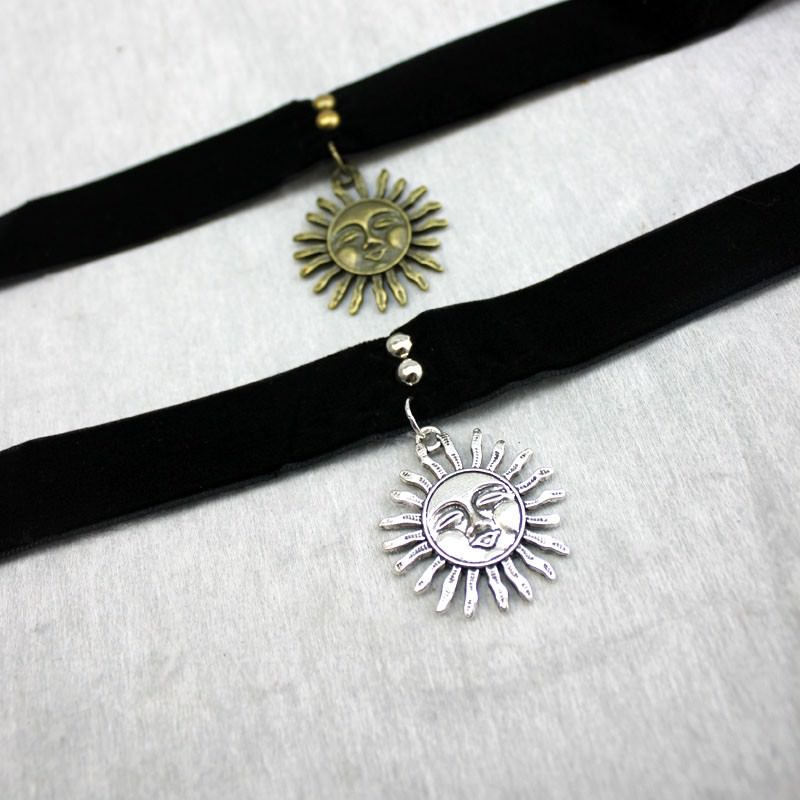 5017-3420fed934679a86e92ade8412f73040 Gothic Leon Black Velvet Ribbon Choker Necklace With Sun Pendant