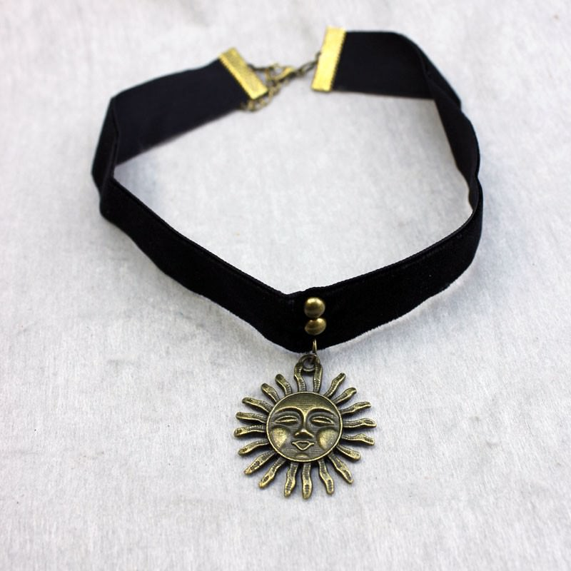 5017-513e8ac4a31befff87ee77f38be7a0ee Gothic Leon Black Velvet Ribbon Choker Necklace With Sun Pendant