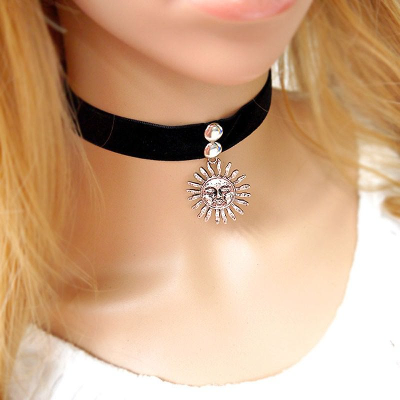 5017-ce36b080693ae4cd552388011ce74061 Gothic Leon Black Velvet Ribbon Choker Necklace With Sun Pendant
